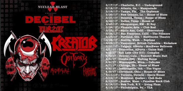 FOH Engineer and Tourmanager for KREATOR North American Tour