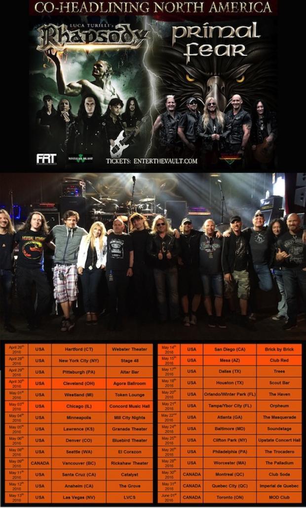 Nord Amerika Tournee mit RHAPSODY und PRIMAL FEAR